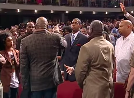 Bishop TD Jakes speaking into my life before laying hands on my at The Potter's House.