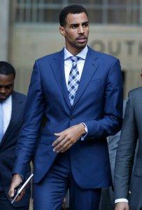 Atlanta Hawks Thabo Sefolosha, leaves a courthouse in New York. (AP/Craig Ruttle)